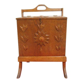 1930s Art Deco Tiger Carved Oak Sewing Storage Box