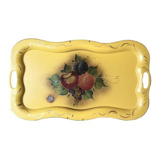Vintage 1940s Hand Painted Fruit Yellow Tole Tray For Sale