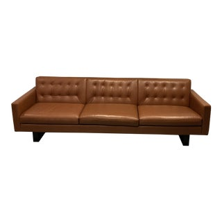 Room & Board Mid-Mod Leather Sofa Cognac Wells Leather Sofa For Sale