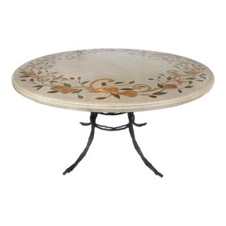 Dining Table W/Hand Wrought Iron Base & Stone Composition Marble Inlay Top For Sale
