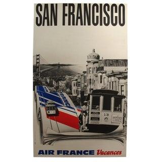 "1980 Original Air France Poster, San Francisco, ""Air France Vacances"" For Sale"
