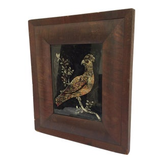 American Folk Art Exotic Bird Tinsel Painting For Sale