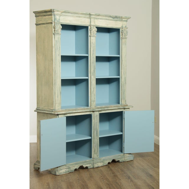 Italian Custom Faux Blue Painted Architectural Bookcase For Sale - Image 12 of 13