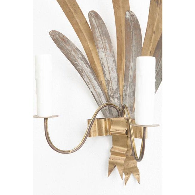 "French Vintage Gilt and Silvered Metal ""Cattail-Leaf"" Sconces - a Pair For Sale - Image 4 of 11"