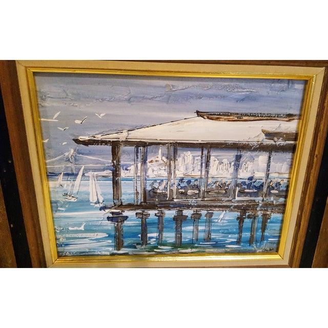 San Francisco Bay Views, Oil on Canvas in Walnut Frames - A Pair ...