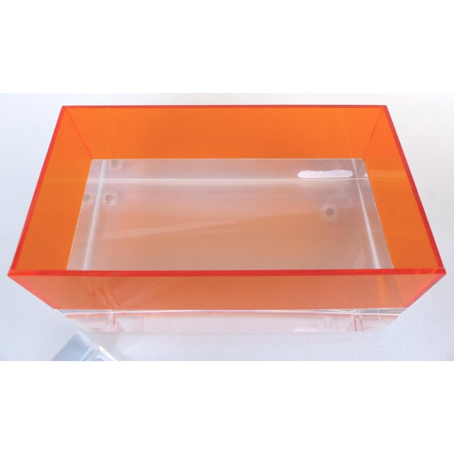 Early 21st Century Custom Clear and Orange Lucite Trinket or Jewelry Box For Sale - Image 5 of 6
