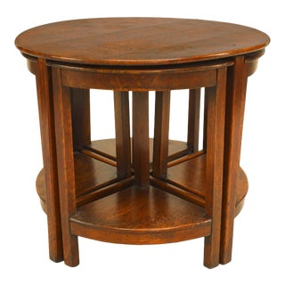 English Arts & Crafts Oak Nest of Tables For Sale