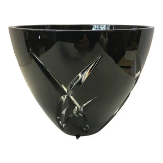 Signed John Rocha Waterford Black Cut Crystal Vase For Sale