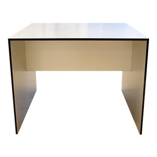 Contemporary Modern Silver Square Low Side End Table For Sale