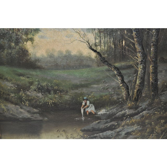 19th Century Forested Landscape Oil Painting - Image 4 of 8