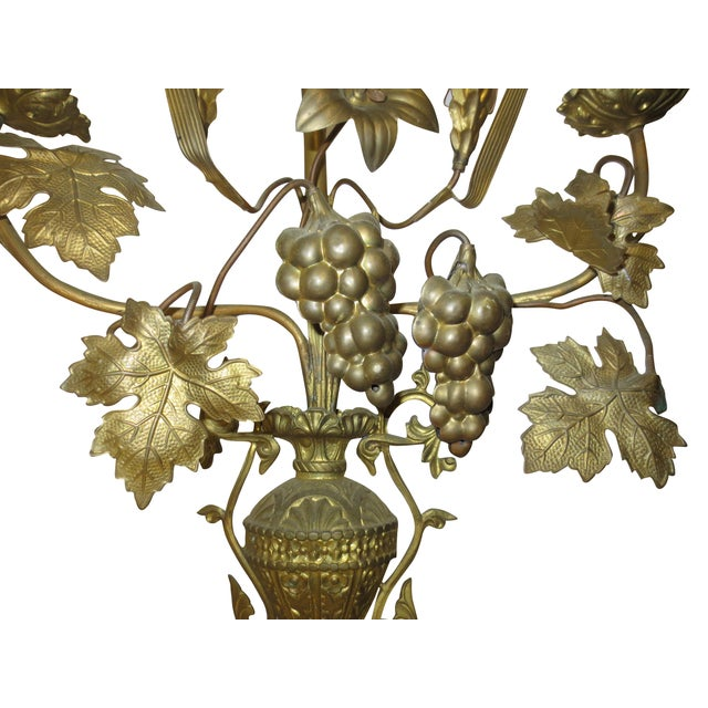 Tall Brass Floral Candleholder - Image 4 of 8