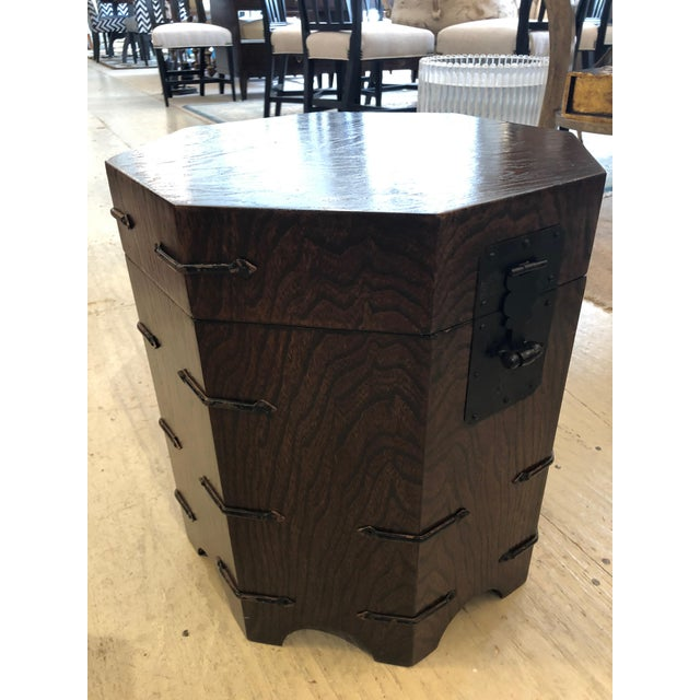 1950s 1950s Asian Dark Wood Octagonal Chest/End Table For Sale - Image 5 of 12