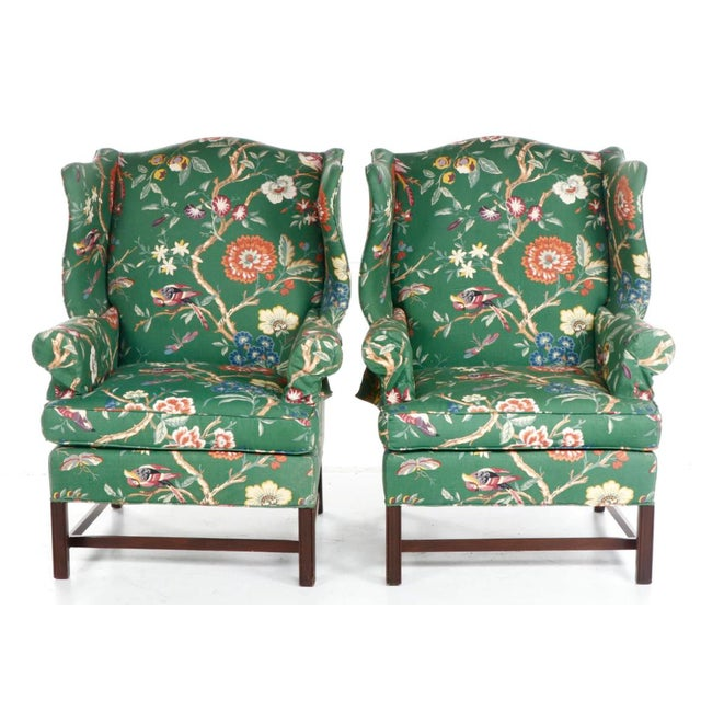 Vintage Gorge III style wingback chairs with updated kelly green floral and tropical Hollywood Regency to Traditional...