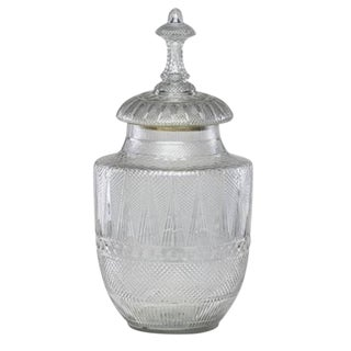 Monumental Antique English Cut-Glass Apothecary Jar, by F. & C.Osler