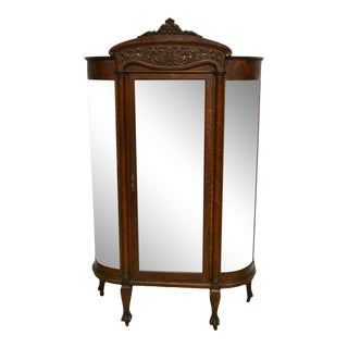 Antique Quartersawn Oak Bowed Curved China Display Cabinet