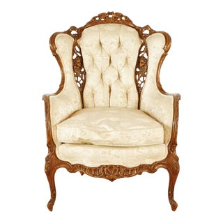 Vintage Baroque Rococo Style Wing Chair For Sale