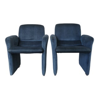 Vintage Embossed Blue Velvet Lounge Chairs With Lucite Feet - a Pair For Sale