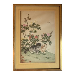 1940s Vintage Japanese Cat Silk Painting For Sale