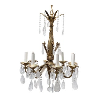 Vintage French Style Bronze Chandelier With Rock Crystal For Sale