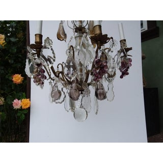 Antique Six Light Chandelier With Glass Fruit and Crystals Preview