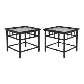 20th Century Boho Chic Black Painted Faux Bamboo Side Tables - a Pair For Sale