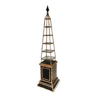 Tortoiseshell Bamboo Obelisk Etagere For Sale