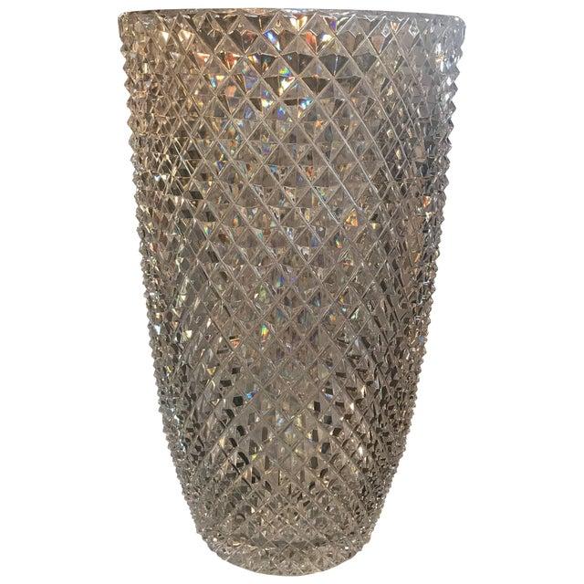 Late 19th Century Diamond Cut Crystal Vase For Sale