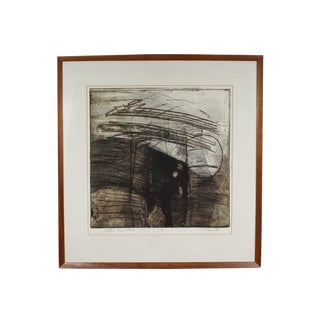 """Late 20th Century Herbert C. Cassill """"Pitcher, Pear, Plant"""" Signed Abstract Aquatint Etching For Sale"""