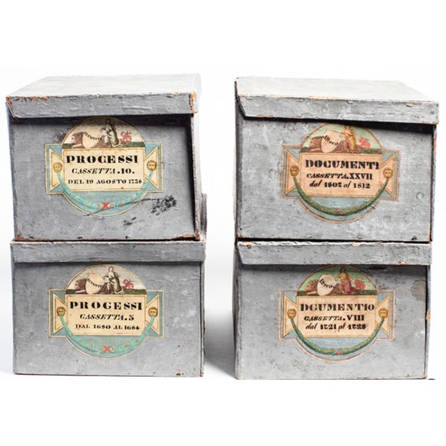 """Antique grey painted Italian deed boxes from Parma Ca. 1880 Chalky paint has wear. Two boxes labeled """"Processi"""" and two..."""