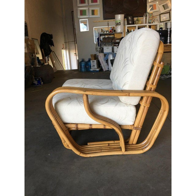 """Rare Paul Frankl Style Square Pretzel """"S"""" Arm Rattan Sofa W/ 2 Tier Table For Sale In Los Angeles - Image 6 of 8"""