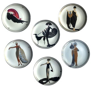 Art Deco Heirloom House of Erte Collector's Fashion Decorative Plates – Set of 6 For Sale