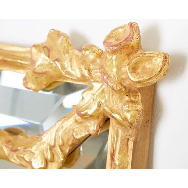 Italian Carved Gilt Wood Faux Bois Cushion Mirror For Sale - Image 9 of 13