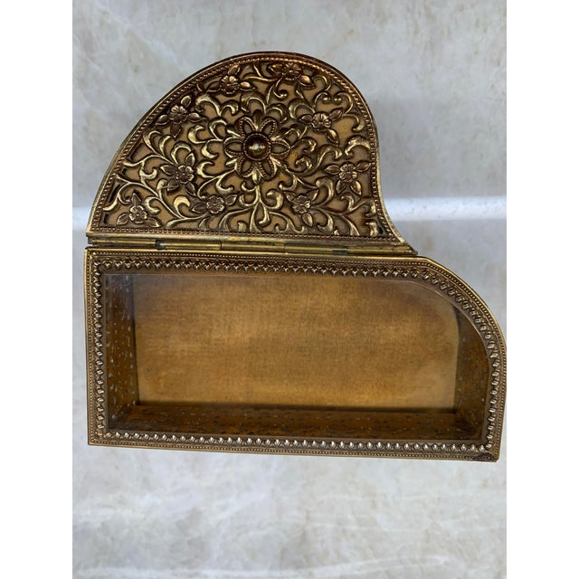 Art Deco Vintage Brass Filigree Piano-Shaped Jewelry Music Box For Sale - Image 3 of 11