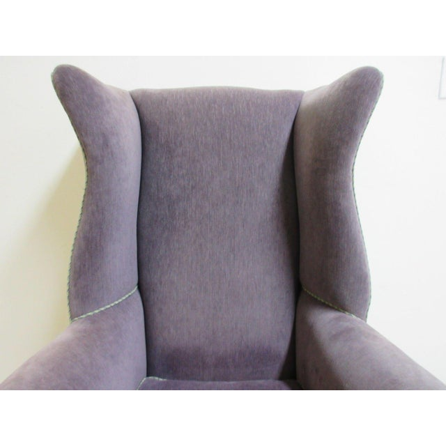 Vintage Purple Wingback Chair For Sale - Image 5 of 11