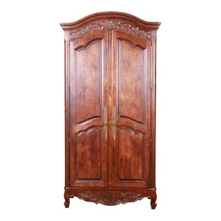 French Provincial Louis XV Oak Armoire For Sale