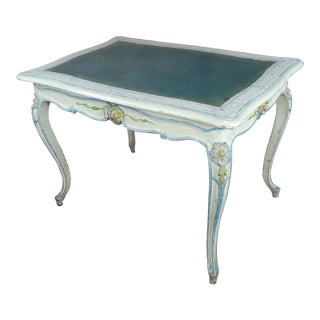 19th Century Venetian Painted Ladies Desk W/Green Leather Top For Sale