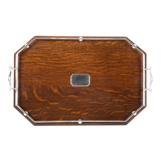 English Oak and Silvered Bronze Serving Tray For Sale