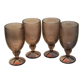 Vintage Fostoria Purple Footed Water Glasses - Set of 4 For Sale