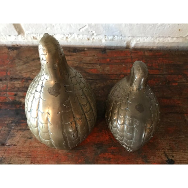 1970s 1970s Boho Chic Brass Quail Figurines - a Pair For Sale - Image 5 of 7
