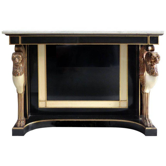 Carved Wood and Marble Empire Revival Console Table, Manner of Maison Jansen For Sale - Image 10 of 10