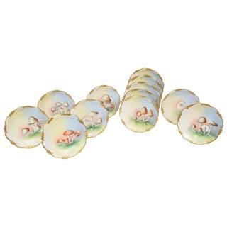 12 Antique Hand-Painted Mushroom Plates, Gold Trim, Limoges For Sale