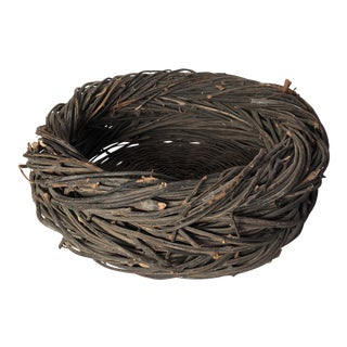 Vintage Rustic Handmade Shallow Basket For Sale