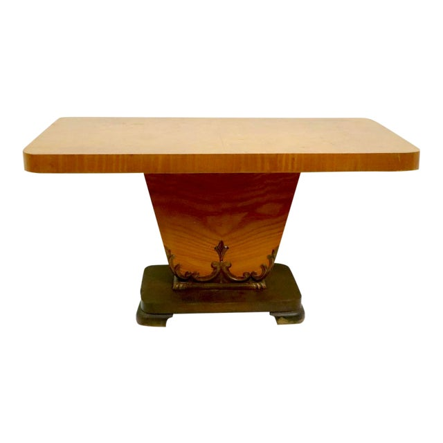Diminutive English Art Deco Burl Console Table For Sale