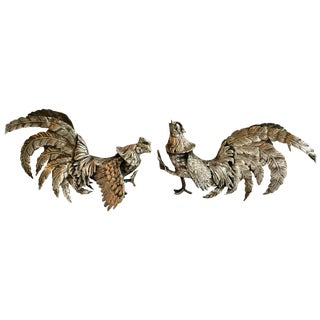 Pair of Silver Plate Cockerals Roosters Bookends For Sale