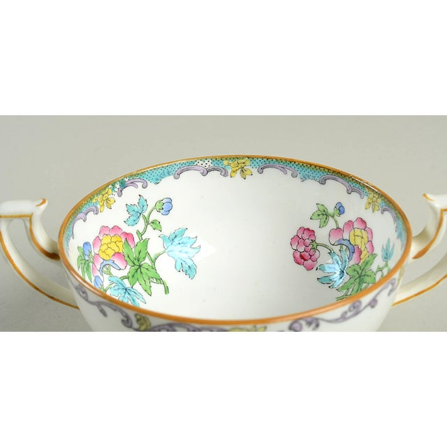 Minton Double Handled Footed Bowl and Saucer - Set of 6 For Sale - Image 10 of 13