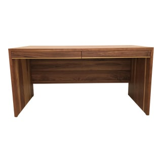 Walnut Desk With Brass Inlay For Sale