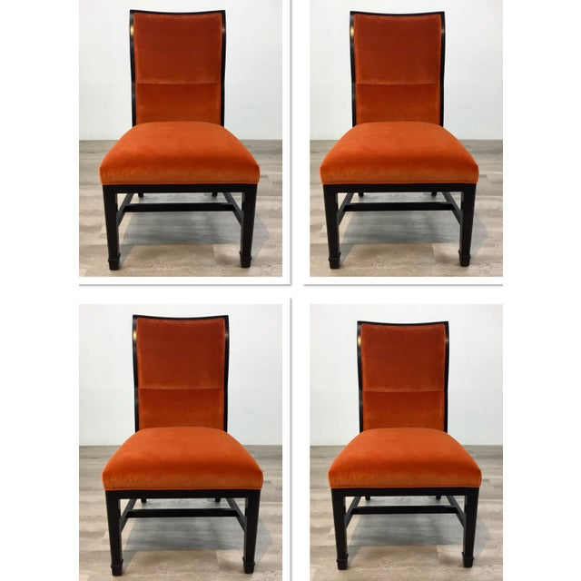 Wood Henredon Modern Orange Velvet Dining Chairs Set of Four For Sale - Image 7 of 7