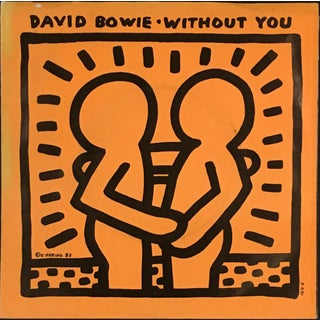 """1983 Pop Art Keith Haring """"Without You"""" David Bowie Record Art"""