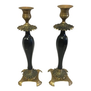 Brass and Wood Candle Holders- a Pair