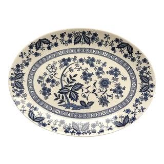 Mid 20th Century Blue Onion Porcelain Platter For Sale